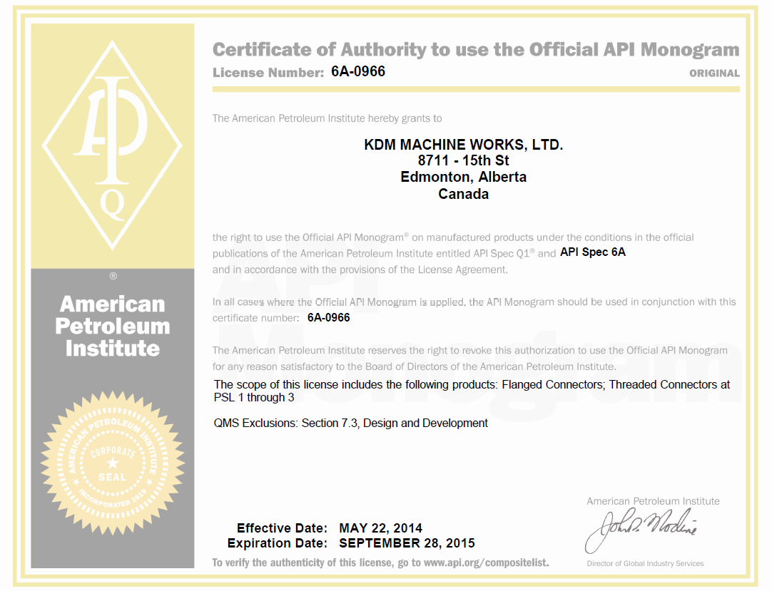 Licenses and Certifications | KDM Industries